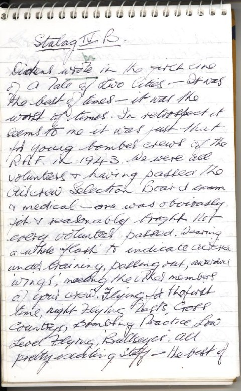 The first page of handwritten notes which make up the memoirs