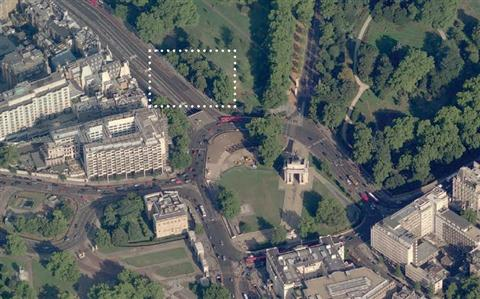 The location of the Bomber Command Memorial